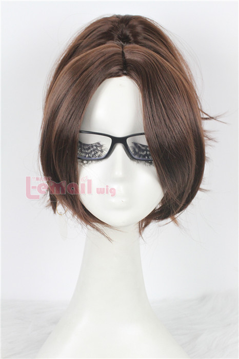 Attack on Titan 35cm short brown Hanji Zoe cosplay hair wig