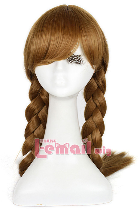 65cm Film Princess Anna Wig Brown Cosplay hair wig