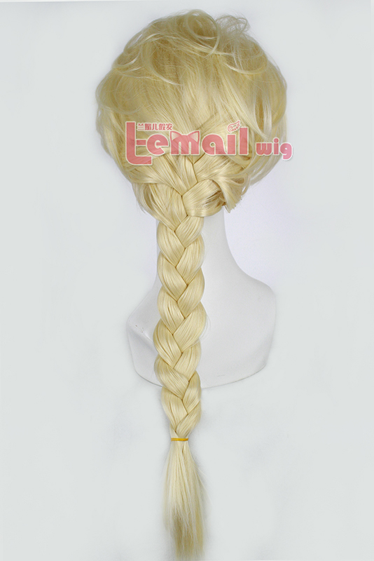 70cm Movie Elsa Princess Wig Blonde Cosplay hair wig