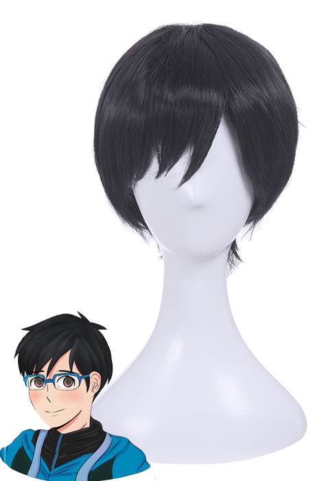 YURI!!! on ICE Yuri Katsuki Short Straight Black Cosplay Wigs